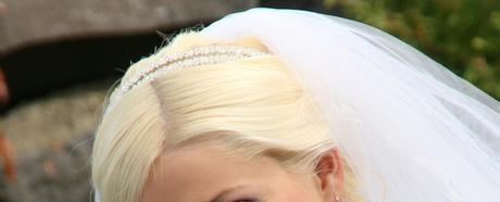 Strieborno-biela svadobná čelenka,