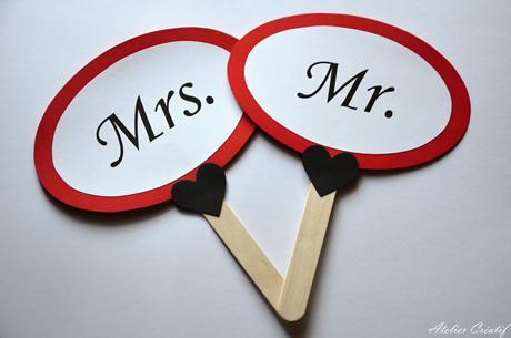 Cedulky na focení-Mr. a Mrs.,
