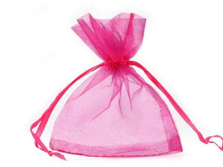 Dárkový pytlík 90x110 mm organza-růžovo-fialová,