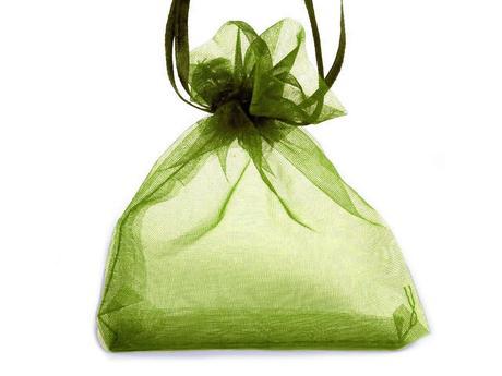 Dárkový pytlík 90x110 mm organza-zelená tmavá,