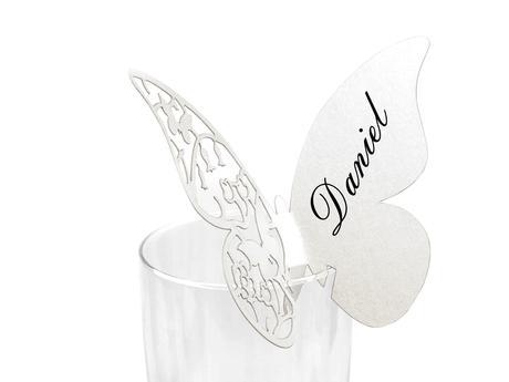 Jmenovka na skleničky 75x105 mm motýl,