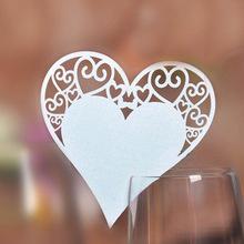 Jmenovka na skleničky-srdce-bílá perleť,