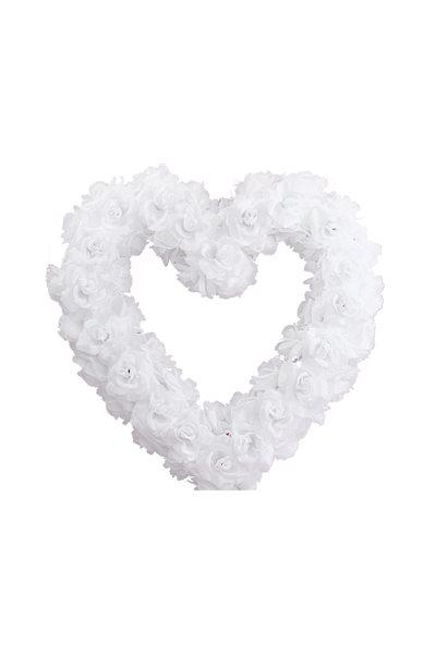 Ozdoba na auto-srdce prázdné, 50cm, bílé,