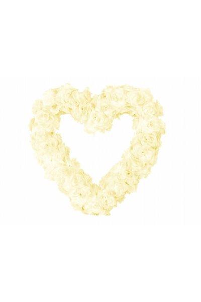 Ozdoba na auto-srdce prázdné, 50cm, ivory,