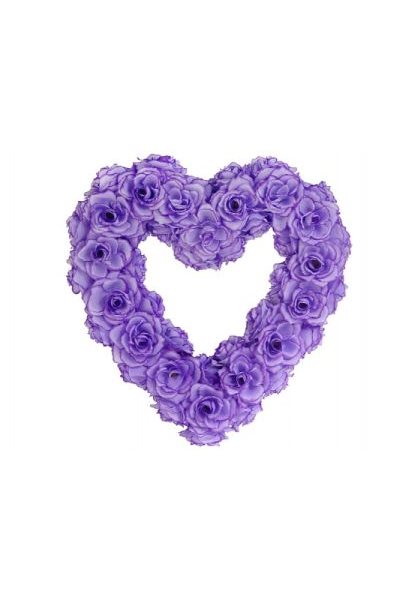 Ozdoba na auto-srdce prázdné, 50cm, lila,