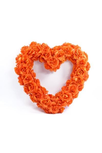 Ozdoba na auto-srdce prázdné, 50cm, pomerančové,