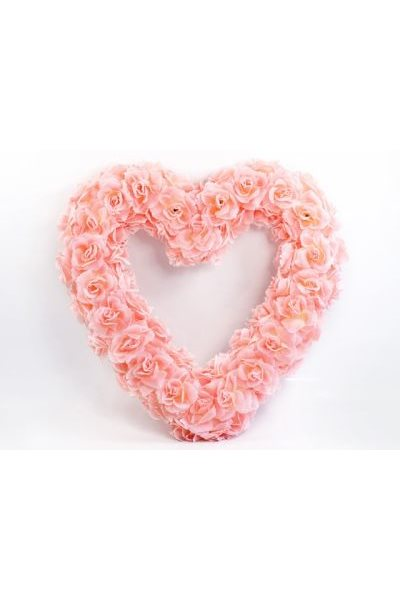 Ozdoba na auto-srdce prázdné, 50cm, růžová,