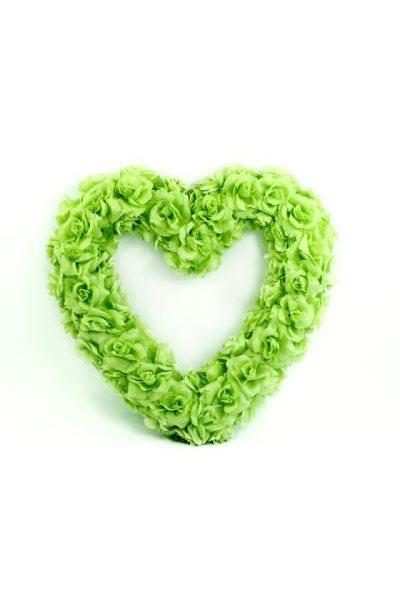 Ozdoba na auto-srdce prázdné, 50cm, světle zelená,