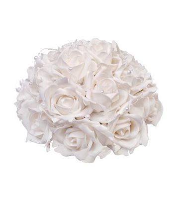 Svatební dekorace z růží s perličkami-bílá,