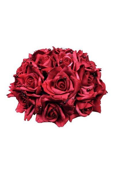 Svatební dekorace z růží s perličkami-červená,