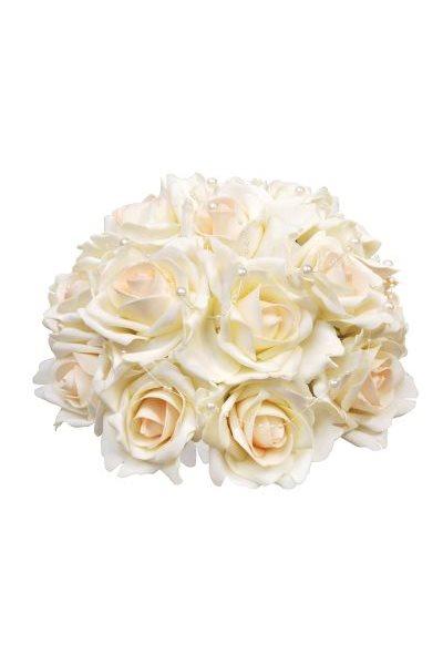 Svatební dekorace z růží s perličkami-ivory,