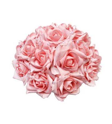 Svatební dekorace z růží s perličkami-růžová,
