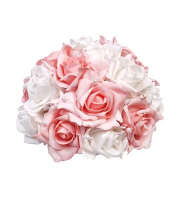 Svatební dekorace z růží s perličkami-růžovo-bílá,
