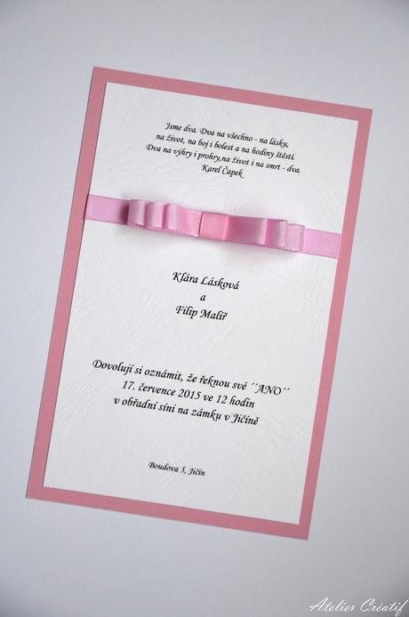 Svatební oznámení-mašlička I.,