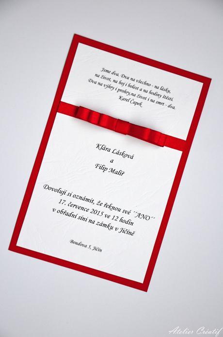 Svatební oznámení-mašlička III.,