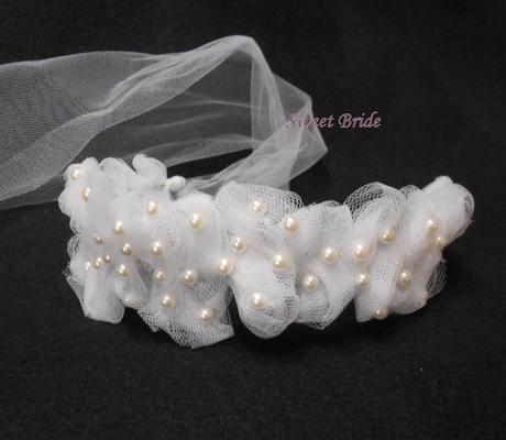 Svatební čelenka se závojem 60-SKLADEM,
