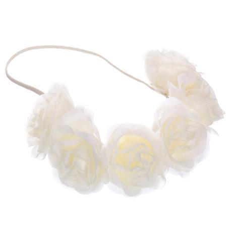 Svatební květinová čelenka ivory 01,