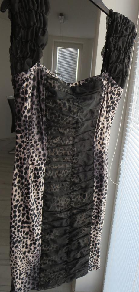 čierne spoločenské šaty s tigrovaným vzorom, 36