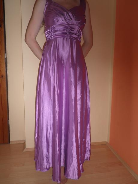 Dlhé saténové fialové šaty, M