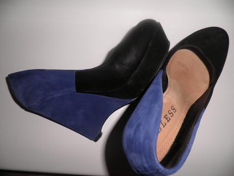 Modro-čierne topánky na platforme, 38
