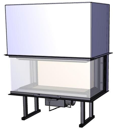 Trojstranný krb Deltako C100,