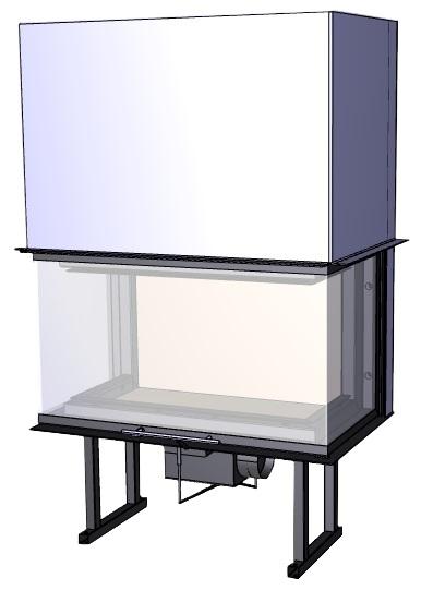 Trojstranný krb Deltako C80,