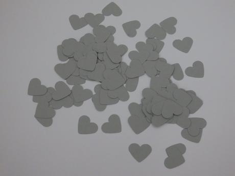 Konfetky srdíčka - grey ,
