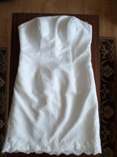 Krajkové krátke svadobné šaty, 44