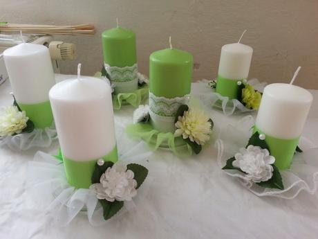 Zeleno-bílé svíčky ,