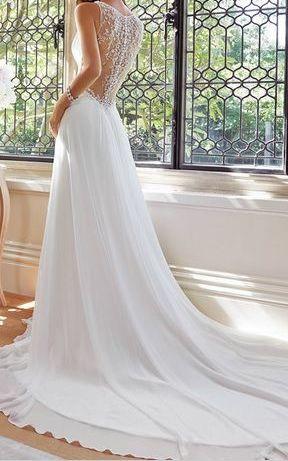 Svatební šaty - zdobená záda, i pro těhotné, 38