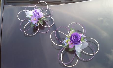 výzdoba svadobného auta - fialova,