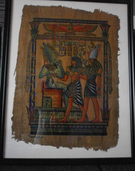 egyptský papyrus zarámovaný,