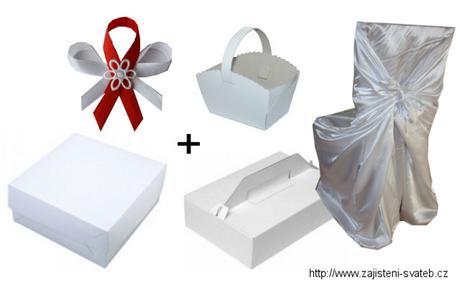 Sada svatební potahy + svatební krabičky,