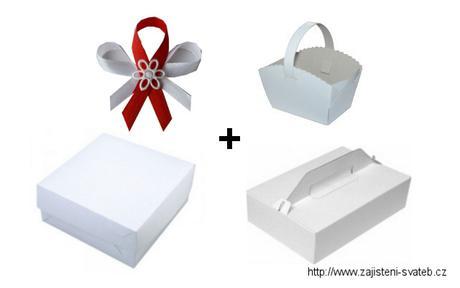 Svatební krabičky - sada, dortová+výslužka+koláčky,