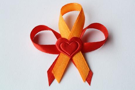 Svatební vývazek červeno - oranžový,