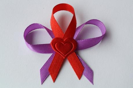 Svatební vývazek fialovo-červený,