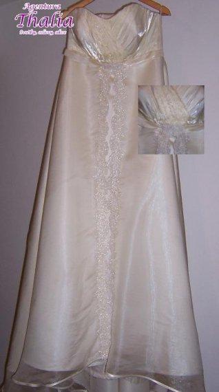 Svatební šaty pro těhulky, nebo boubelky, 44