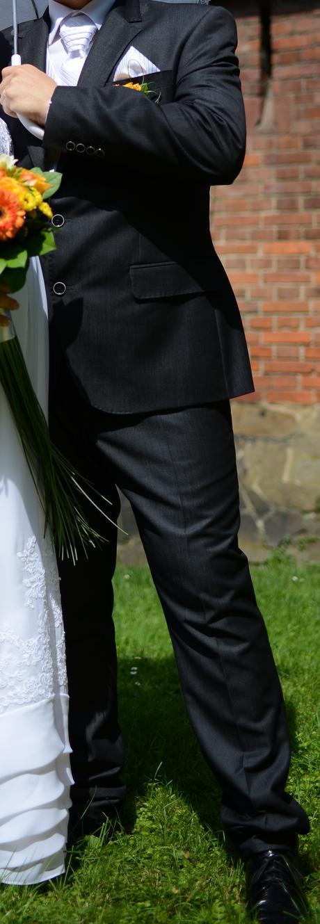 Luxusní značkový antracitový oblek s prošíváním, 52