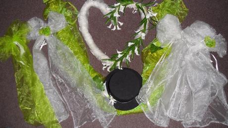 Dekorace na zelenou svatbu+výzdoba auta,
