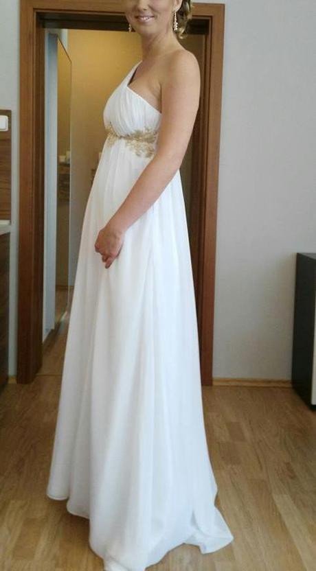 bílé svatební šaty antického střihu, 38