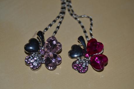 Řetízek - čtyřlístek - růžový a fuchsia,