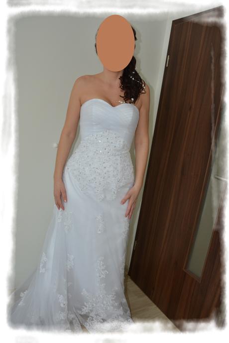 Svatební šaty s vlečkou + závoj, 40