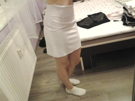 elegantná sukňa snehobiela , S