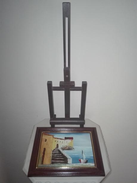 Prímorský obraz na drevenom stojane,