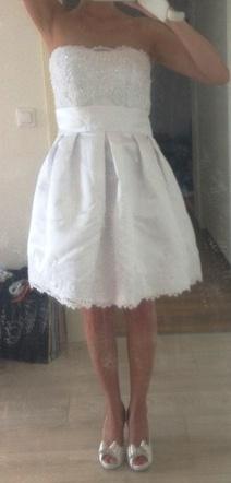 Krátke biele svadobné šaty s bolerkom, 36/38, 36