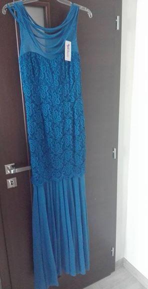 Elegantne dlhe saty - kralovska modra -su s vysack, 36