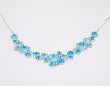 Lehký šanelový náhrdelník - aqua blue,
