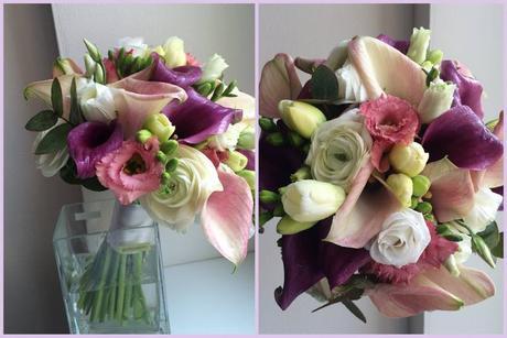 Svatební kytice z kal, eustom a frézií,