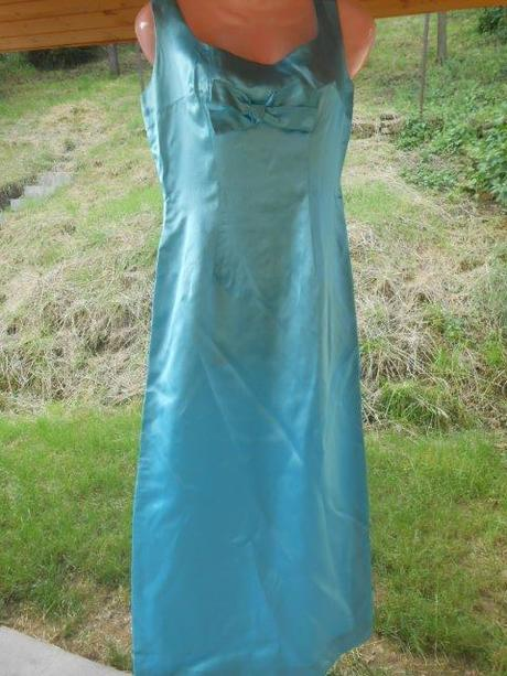 tyrkysové šaty s mašlí, 36