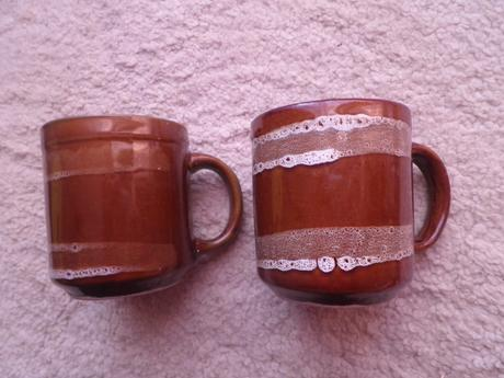 hneda keramika - šalky na kavu ,
